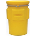 95 Gallon Yellow Plastic Salvage Drum, Cover w/ Bolt Ring, UN Rated