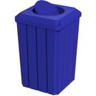 32 Gallon Blue Slatted Square Trash Receptacle, Bug Barrier Lid