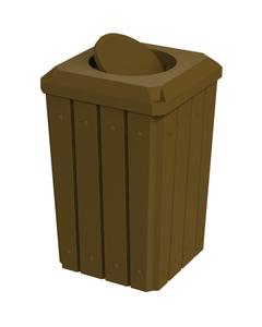 32 Gallon Brown Slatted Square Trash Receptacle, Bug Barrier Lid