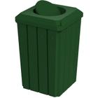 32 Gallon Green Slatted Square Trash Receptacle, Bug Barrier Lid