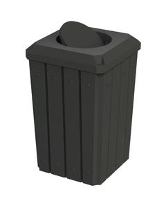 32 Gallon Black Slatted Square Trash Receptacle, Bug Barrier Lid