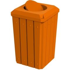 32 Gallon Orange Slatted Square Trash Receptacle, Bug Barrier Lid