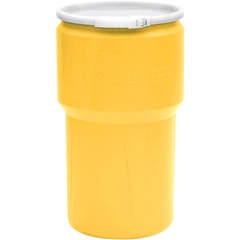 14 Gallon Yellow Plastic Drum, Taper Sided, UN Rated, Cover w/Lever Lock Ring Closure