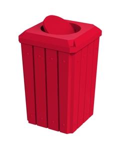 32 Gallon Red Slatted Square Trash Receptacle, Bug Barrier Lid