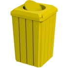 32 Gallon Yellow Slatted Square Trash Receptacle, Bug Barrier Lid