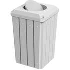 32 Gallon White Slatted Square Trash Receptacle, Bug Barrier Lid