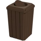 32 Gallon Brown Granite Slatted Square Trash Receptacle, Bug Barrier Lid
