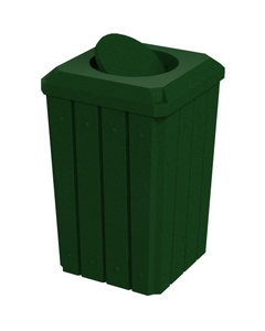 32 Gallon Green Granite Slatted Square Trash Receptacle, Bug Barrier Lid
