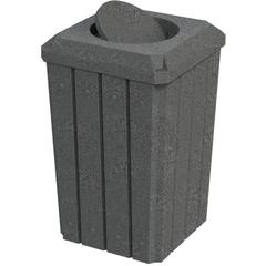 32 Gallon Dark Granite Slatted Square Trash Receptacle, Bug Barrier Lid