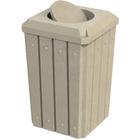 32 Gallon Beige Granite Slatted Square Trash Receptacle, Bug Barrier Lid