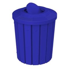 42 Gallon Blue Slatted Trash Receptacle, Flat Top Bug Barrier Lid