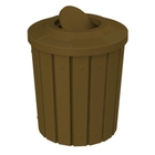 42 Gallon Brown Slatted Trash Receptacle, Flat Top Bug Barrier Lid