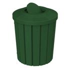 42 Gallon Green Slatted Trash Receptacle, Flat Top Bug Barrier Lid