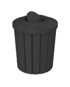 42 Gallon Black Slatted Trash Receptacle, Flat Top Bug Barrier Lid
