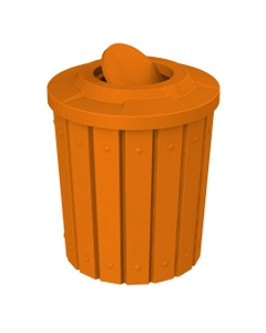 42 Gallon Orange Slatted Trash Receptacle, Flat Top Bug Barrier Lid