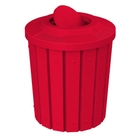 42 Gallon Red Slatted Trash Receptacle, Flat Top Bug Barrier Lid