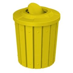 42 Gallon Yellow Slatted Trash Receptacle, Flat Top Bug Barrier Lid