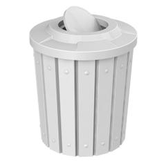 42 Gallon White Slatted Trash Receptacle, Flat Top Bug Barrier Lid
