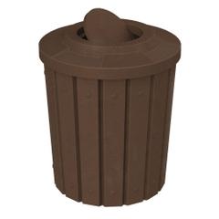 42 Gallon Brown Granite Slatted Trash Receptacle, Flat Top Bug Barrier Lid