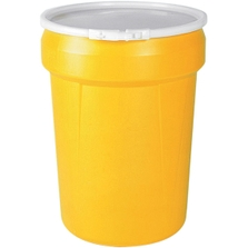 30 Gallon Yellow Plastic Drum, Taper Sided, UN Rated, Cover w/Lever Lock Ring Closure