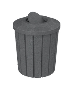 42 Gallon Dark Granite Slatted Trash Receptacle, Flat Top Bug Barrier Lid