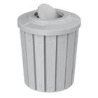 42 Gallon Light Granite Slatted Trash Receptacle, Flat Top Bug Barrier Lid