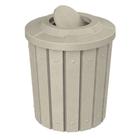 42 Gallon Beige Granite Slatted Trash Receptacle, Flat Top Bug Barrier Lid
