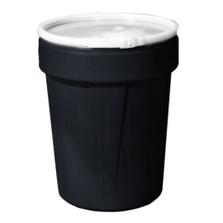 40 Gallon Black Plastic Drum, UN Rated, Cover w/Metal Lever Lock