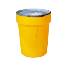 40 Gallon Yellow Plastic Drum, Taper Sided, UN Rated