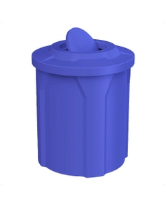 42 Gallon Blue Trash Receptacle, Flat Top Bug Barrier Lid