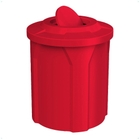 42 Gallon Red Trash Receptacle, Flat Top Bug Barrier