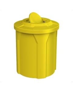 42 Gallon Yellow Trash Receptacle, Flat Top Bug Barrier Lid