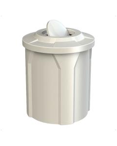 42 Gallon White Trash Receptacle, Flat Top Bug Barrier Lid