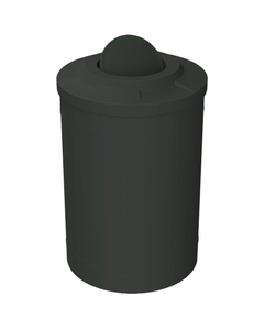 55 Gallon Black Trash Receptacle, Flat Top Bug Barrier Lid