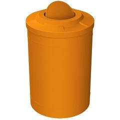 55 Gallon Orange Trash Receptacle, Flat Top Bug Barrier Lid