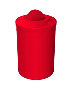 55 Gallon Red Trash Receptacle, Flat Top Bug Barrier Lid