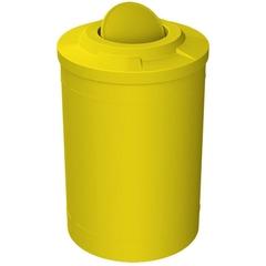 55 Gallon Yellow Trash Receptacle, Flat Top Bug Barrier Lid