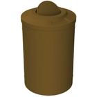 55 Gallon Brown Trash Receptacle, Flat Top Bug Barrier Lid