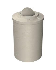 55 Gallon Beige Granite Trash Receptacle, Flat Top Bug Barrier Lid