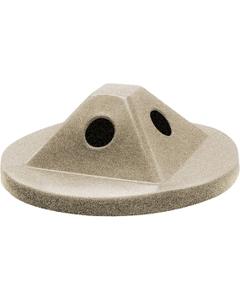 55 Gallon Drum Beige Granite Plastic Pyramid Recycling Lid