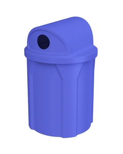 """42 Gallon Blue Recycling Receptacle, 2-Way (Dual 5"""" Opening) Lid"""