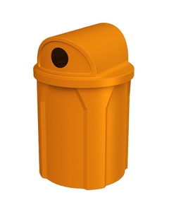 """42 Gallon Orange Recycling Receptacle, 2-Way (Dual 5"""" Opening) Lid"""