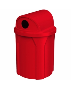 """42 Gallon Red Recycling Receptacle, 2-Way (Dual 5"""" Opening) Lid"""