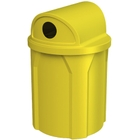 """42 Gallon Yellow Recycling Receptacle, 2-Way (Dual 5"""" Opening) Lid"""