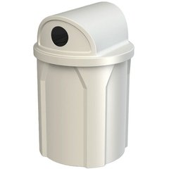 """42 Gallon White Recycling Receptacle, 2-Way (Dual 5"""" Opening) Lid"""