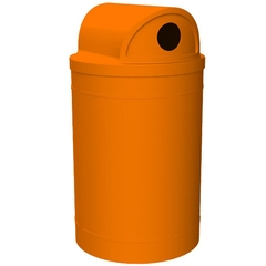 """55 Gallon Orange Recycling Receptacle, 2-Way (Dual 5"""" Opening) Lid"""
