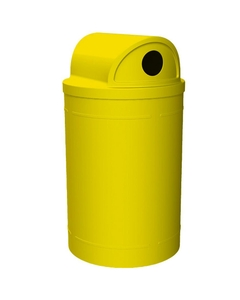"""55 Gallon Yellow Recycling Receptacle, 2-Way (Dual 5"""" Opening) Lid"""