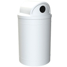 """55 Gallon White Recycling Receptacle, 2-Way (Dual 5"""" Opening) Lid"""