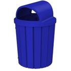 42 Gallon Blue Slatted Trash Receptacle, 2-Way Open Lid