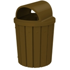 42 Gallon Brown Slatted Trash Receptacle, 2-Way Open Lid